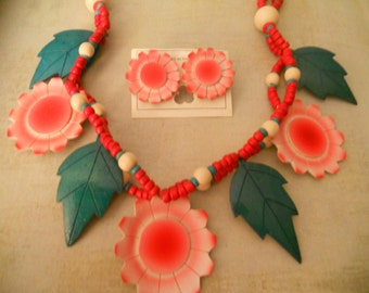 Wooden Tropical Flowers - Leaves and Beads on Double-Strand Necklace with Matching Flower Earrings