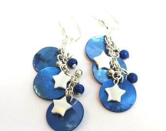 Dark Blue Starry Night Earrings, Star Earrings, Blue Shell Earrings, Blue and Silver Starry Earrings, Handmade Fashion Jewelry