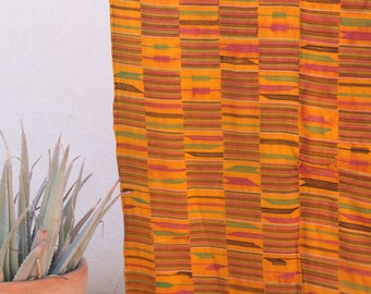 Yellow Ashanti Kente Cloth, Vintage Tribal Textile Cloth, Weaving /Ghana, West Africa /Decor, Reupholstering, Design, Supply /Beach Blanket