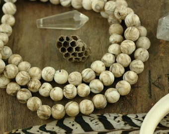 Secrets of the Sea: Natural Antiqued Nepali Conch Shell Round Beads 8mm, 108 beads, Ocean, Boho Yoga Fashion, Mala Jewelry Making Supplies