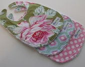 Girl Baby Bibs - Set of 3 - Vintage rose  Collection Designer Fabrics