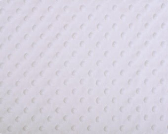 White Dimple Dot Minky 1 FAT HALF  30 by  36 inches