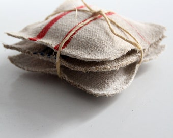 FREE SHIP  lavender sachets with antique homespun linen set of 3, grain sack sachets