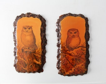 owl art, vintage owl wall hangings, rustic owl paintings