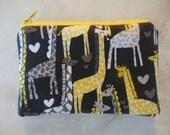 Giraffes ipod/iphone/gadget/Small zipper accessory pouch