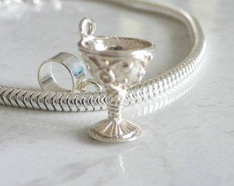 Medieval WINE GOBLET CHALICE Sterling Silver Drinking Charm Fits All Slide On Bracelets