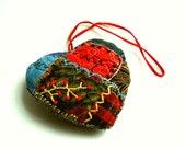 primitive folk art heart ornament, cottage home decor, folk art heart, heart ornament, red blue yellow, embroidered heart, rustic decor