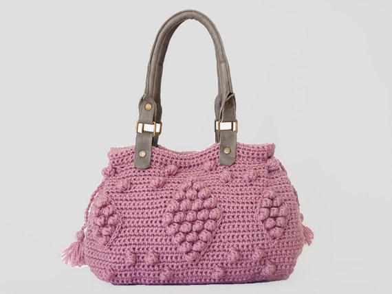 BAG // Pink / Rose Crocheted Handbag- handbag Celebrity Style With Genuine Leather Straps / Handles/crochet bag / gray bag