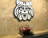 U of A Wildcat Logo hand crafted from wood with a custom paint finish