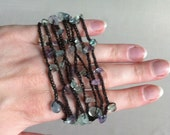 Fluorite Chips Crocheted Wrap Bracelet Necklace Natural Crystal Gemstone Chips