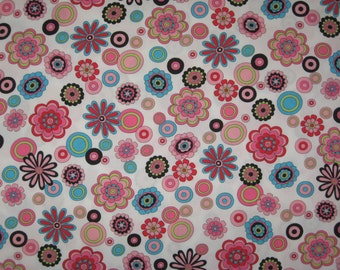 "Pink Black Teal Lime flowers on white fabric 1 yard 21"" X 56"" wide"