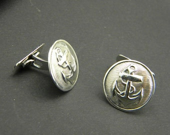 anchor cufflinks sterling silver ,nautical men's cuff links, gift for him, wedding gift, men's jewelry, accessories for man