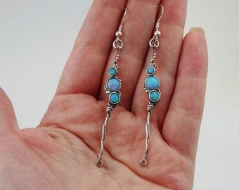 Hadar NEW Long Sterling  Silver Opal Earrings (H 2101)y