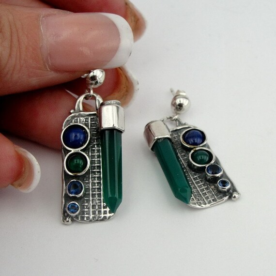 Handmade Art Sterling Silver long Mix Stones Earrings (225)