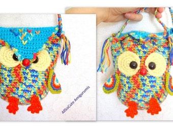Crochet Bag Pattern Girls Purse, INSTANT DOWNLOAD PDF, Crochet Owl Purse Pattern Bag Girls Handbag