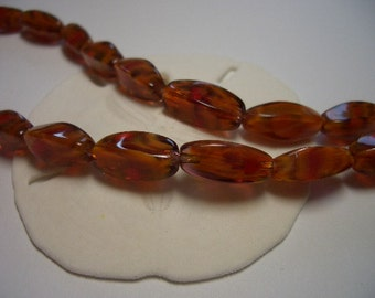 Glass beads rectangular, 6 x 14mm, autumn colours, orange, brown, red, amber, 6mm beads,  lampwork glass, marbled, elongated, unique beads