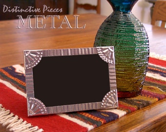 """Metal Picture Frame - Corrugated - New Mexico Tinwork Style, Hand-Punched Aluminum, 4 x 6"""" Southwestern Frame, Folk Art Metalwork, FM0406-T"""
