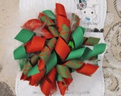 Christmas Red and Green Zebra Holiday Korker Bow Clip Headband