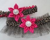 Hot Pink WEDDING Garter Set, Hot Pink Prom Garter, Leopard Bridal Garters, Fuchsia Pink Garter with Animal Print