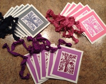 Handmade Hand pulled Abstract Tree Linocut Print gift tag set, Paper2Roses Design, attach to Gift Basket, Tie around Bottle