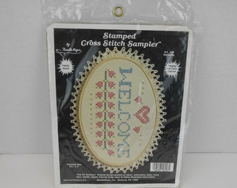 Vintage NeedleMagic cross stitch sampler kit 553 new old stock vintage Needle Magic Welcome Sampler cross stitch kit