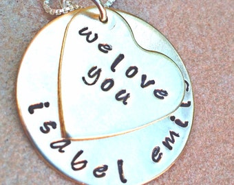 Mom Necklace, Grandma Necklace, Personalized Hand Stamped Necklace, Mothers Day,Gifts For Mom, natashaaloha