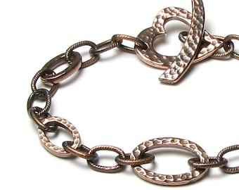 Antique Copper Bracelet, Hammered Link Bracelet, Antique Copper Hammered Heart Clasp, Oval Link Bracelet, Hammered Jewelry, Boho Bracelet