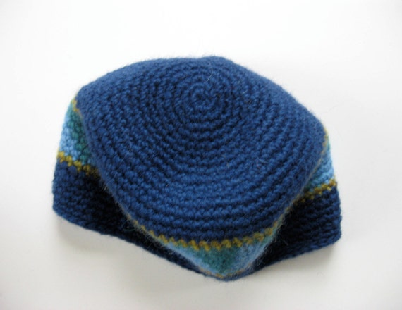 men's blue wool hat with triangle design large