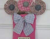 Baby Girl Nursery Hot Pink and Gray Room Wall/Door Decor - Personalized - Shower Gift - Fabric  Flowers - Girls Door Hanging -