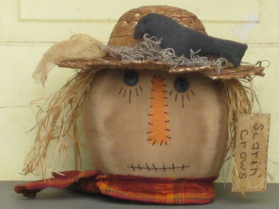 "Primitive Scarecrow Head - Fabric - Centerpiece - Halloween -  Fall Tuck -""Scarin' Crows"""