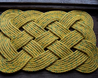 """Doormat 30x 20"""" Yellow with Green Speckles Throughout.  Rope Rug"""