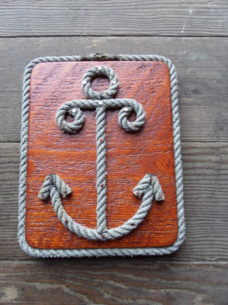 Rope shaped anchor nautical decor wall hanging by for How to make a rope wall