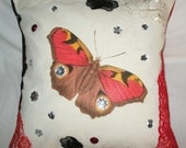 OOAK Elegant Designer 16x16 Pillow Cover White Cotton Canvas and Red Burlap Butterfly Print decorated with Lace and Rhinestones