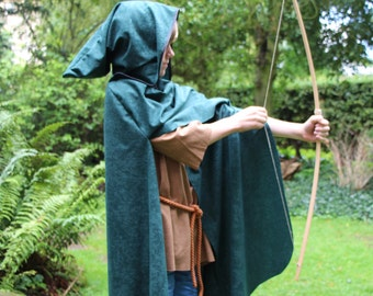 Medieval style Archer Cape cloak for a child in various colors and sizes Robin Hood Hunter Assassin Warrior Ranger Apprentice Cosplay