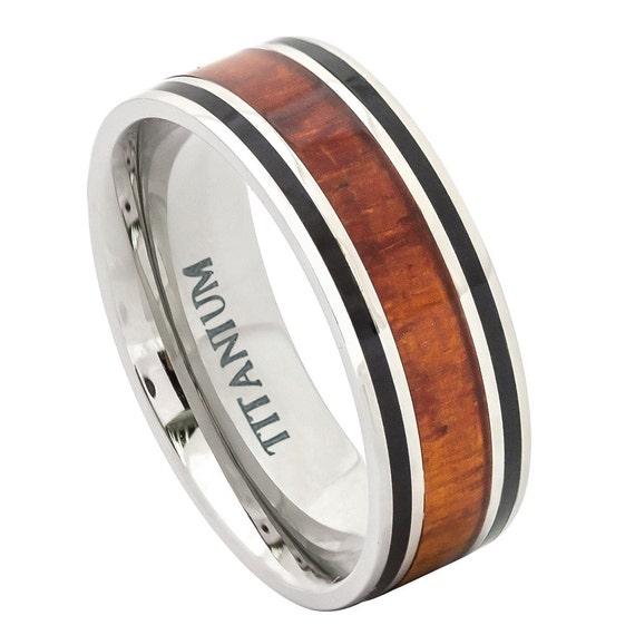 Titanium Ring Hawaiian Koa Rosewood Inlay By TemptingJewels