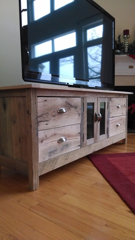 Reclaimed barn wood media console for Barnwood media cabinet