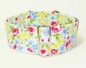 Martingale Collar, Pink and Blue Roses, Sighthound Collar, Galgo Collar, Greyhound Martingale, Hound Collar