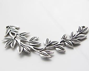 2pcs / Flowering Branch / Oxidized Silver Tone / Base Metal / Charm (YA15576//E109)