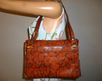 Give Me Some SKIN - Vintage 70's - Embossed Leather Python SKIN - Hippie - Boho - Shoulder bag - Purse