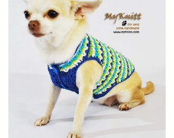 Striped Blue Dog Clothes XXS Handmade Crochet Unique Puppy Clothes Cotton Chihuahua Sweater Pet Clothing DK970 Myknitt - Free Shipping