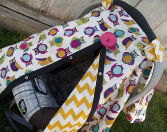 Carseat Canopy Owl Mustard Chevron REVERSIBLE Carseat Cover