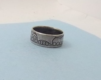 Silver coin ring Barber half dollar, 90% fine silver jewelry year 1900 size 11