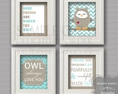 8x10 Aqua/Tan - Owl Wall Art Package - (4 JPEG Digital Files) Instant Download - You Print- You Frame