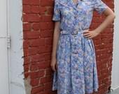 1980s Pastel Floral Garden-themed Shirt Dress with Matching Belt