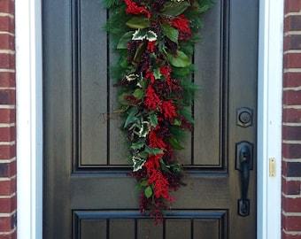 Christmas Wreath-Winter Wreath- Holiday Decor- Vertical- Teardrop Wreath- Door Swag Decor-Seasons Greetings-Cabin Wreath-Rustic Wreath