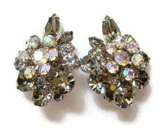 Juliana DeLizza & Elster Earrings Smoke Aurora Borealis Rhinestone Clip