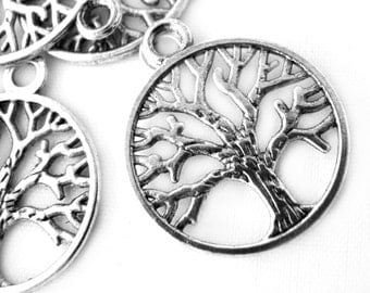 Charms : 10 Silver Ox Tree of Life Charms / Antique Silver Tree of Life Pendants ... Lead, Nickel & Cadmium Free 13252.L14