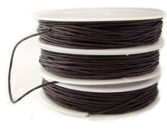 Waxed Cord : 10 yards | 30 feet Dark Brown 1mm Waxed Cord String / Bracelet Cord / Macrame Cord / Chinese Knotting Cord / Shamballa  75743