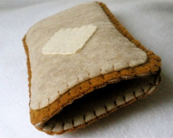 Toast Phone Case,  Hand Stitched Felt Toast with Butter Phone Cozy
