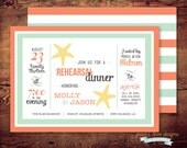 Printable Beach Theme Rehearsal Dinner Invitations (digital file) DIY Printing at home or your choice of printer